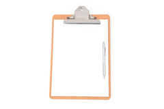 White paper, clip board and pencil on white background Royalty Free Stock Photos