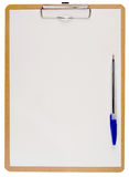 White paper on a clipboard. Royalty Free Stock Images