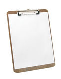 White paper on clipboard. Wooden clipboard and blank paper Stock Photos
