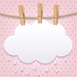 White paper cloud on a clothesline. White paper cloud hanging by clothes peg on a clothesline Stock Photo