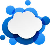 White paper cloud over blue bubbles. Royalty Free Stock Images