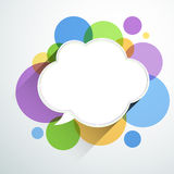 White paper cloud over color bubbles. Royalty Free Stock Image