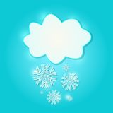 White  Paper Cloud Sign with  Snowflakes Stock Photography