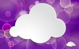 White paper cloud on ultra violet festive background. With light beams Royalty Free Stock Photography