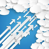 White Paper Clouds With Arrows Blue Sky. Paper clouds on the blue background Royalty Free Stock Photo