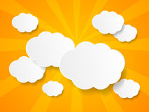 White paper clouds background. With place for text Royalty Free Stock Images