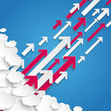 White Paper Clouds Blue Sky Arrows Growth. Paper clouds on the blue background Stock Photo