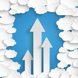 White Paper Clouds Blue Sky Centre 3 Arrows. Paper clouds with 3 arrows on the blue background Stock Photo