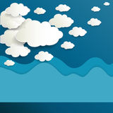 White paper clouds on blue sky. Illustration of white paper clouds design on blue sky background Royalty Free Stock Photos