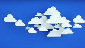 White paper clouds over blue background. Abstract background, white paper clouds over blue background Stock Photos