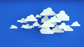 White paper clouds over blue background. Abstract background, white paper clouds over blue background Stock Photography