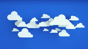 White paper clouds over blue background. Abstract background, white paper clouds over blue background Royalty Free Stock Image