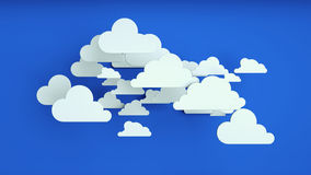 White paper clouds over blue background. Abstract background, white paper clouds over blue background Royalty Free Stock Images