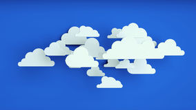 White paper clouds over blue background. Abstract background, white paper clouds over blue background Stock Image