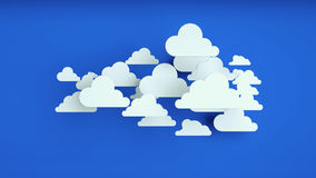 White paper clouds over blue background. Abstract background, white paper clouds over blue background Royalty Free Stock Photo