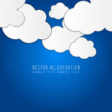 White paper clouds over blue. Modern abstract background composed of white paper clouds over blue Stock Photo