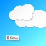 White paper clouds over blue. vector illustration