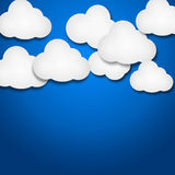 White paper clouds over gradient blue background. Illustration of white paper clouds over gradient blue background Royalty Free Stock Images