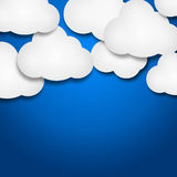 White paper clouds over gradient blue background. Illustration of white paper clouds over blue background Royalty Free Stock Images