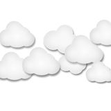 White paper clouds over gradient blue background. Illustration of white paper clouds over white background Stock Photo