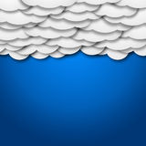 White paper clouds over gradient blue background - illustration. White paper clouds over blue background - illustration Royalty Free Stock Images