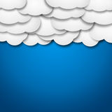 White paper clouds over gradient blue background. Illustration of bunch of white paper clouds over blue background Royalty Free Stock Photography