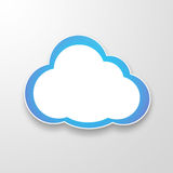 White paper clouds over gradient blue background Royalty Free Stock Image