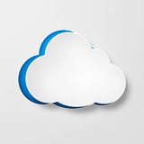 White paper clouds over gradient blue background. Illustration of paper cloud on grey background Royalty Free Stock Photos