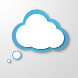 White paper clouds over gradient blue background. Illustration of white paper cloud or idea cloud on grey background Stock Photo