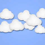 White paper clouds over gradient purple color background Stock Images