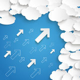 White Paper Clouds Small Arrows Blue Sky. Paper clouds with arrows on the blue background Stock Photos
