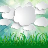 White paper clouds with sun rays and grass silhouettes on blurre. D spring natural background Vector Illustration