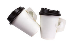White paper coffee cup with black top isolated on white background stock images