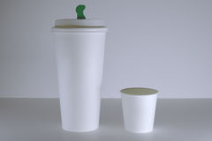 White paper coffee cup mock-up. Coffee Shop or Cafeteria Royalty Free Stock Photography