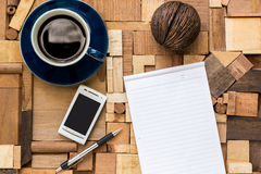 White paper with coffee cup and phone Stock Photography