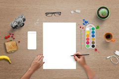White paper for color brush art, font, logo presentation Royalty Free Stock Photo