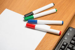 White paper with colorful felt pen markers Stock Photos