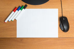 White paper with colorful felt pen markers Royalty Free Stock Image