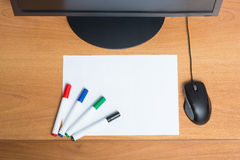 White paper with colorful felt pen markers Stock Photo