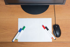 White paper with colorful felt pen markers Royalty Free Stock Photography