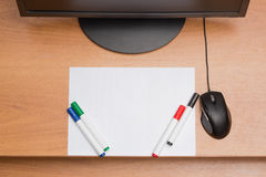 White paper with colorful felt pen markers Royalty Free Stock Photos