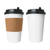White paper Cup with a brown cover with label and without label.. White paper Cup for hot drinks like coffee and tea with a brown cover with label and without Royalty Free Stock Photo