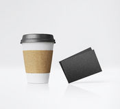 White paper cup and business cards. 3d rendering Royalty Free Stock Image