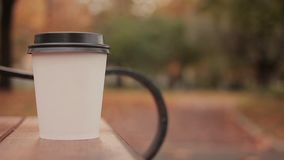 White paper cup with hot drink in autumn city park close up with defocused background skater boy walking people. White paper cup with hot drink in autumn city stock footage
