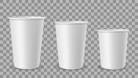 White paper cups. Cup for drinks, lemonade juice coffee tea ice cream container in different size. Empty 3d realistic. Plastic or cardboard takeaway disposable stock illustration