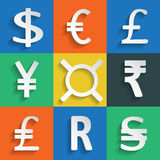 White Paper Currency Signs on colored background Royalty Free Stock Photography