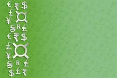 White Paper Currency Signs on green background Royalty Free Stock Image