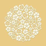 White paper cut flowers circle Stock Photos