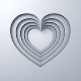 White paper cut heart holes valentines day card background with shadow 3D render Royalty Free Stock Photos