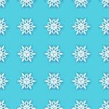 White Paper cut snowflakes seamless pattern. Origami Winter Decoration background. Seasonal holidays. Snowfall. Blue stock illustration